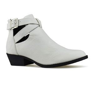 EMBER White Ankle Booties